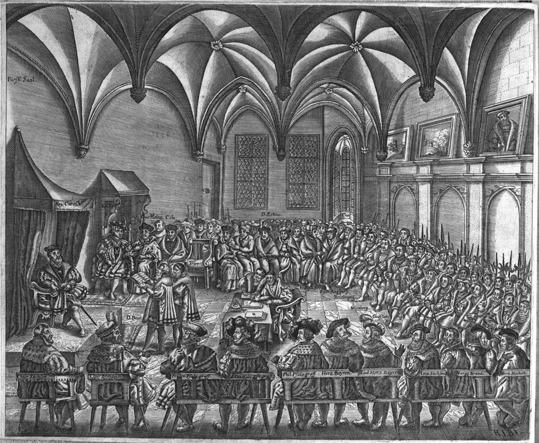 Verlesung des Augsburger Bekenntnis beim Augsburger Reichstag 1530, Holzschnitt 16.Jahrhundert